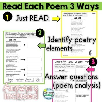 3rd Grade Poems with Questions ~ Built in Stop and Jot ~ Poetry 3rd Grade