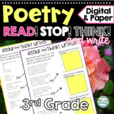 3rd Grade Poems with Questions ~ Built in Stop and Think ~ Poetry 3rd Grade