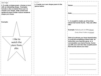 3rd Grade Poetry Review Trifold Activity #2