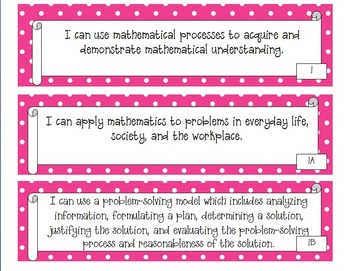 "3rd Grade Polka Dot Themed Math TEKS ""I Can"" Statement Posters"