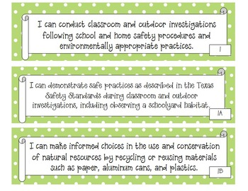 "3rd Grade Polka Dot Themed Science TEKS ""I Can"" Posters"