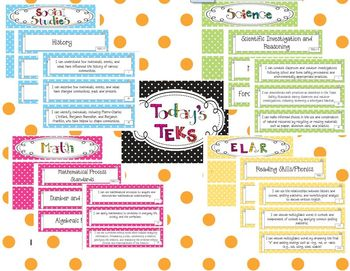 3rd Grade Polka Dot Themed TEKS Statements Bundle