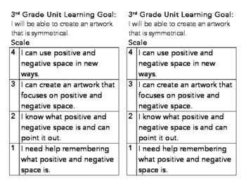 3rd Grade Positive and Negative Space Learning Goal and Scale