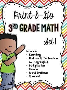 3rd Grade Math Print & Go