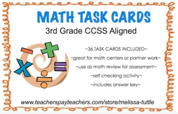 3rd Grade Printable Math Task Cards CCSS Aligned ~ 36 cards and answer Key