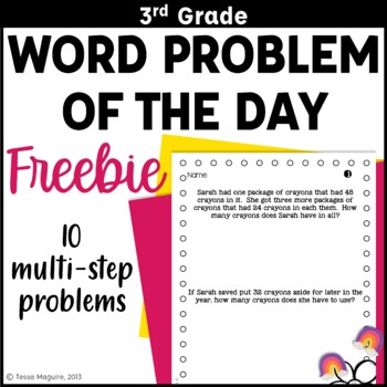 3rd Grade Problem of the Day Story Problems- Back to School {freebie}