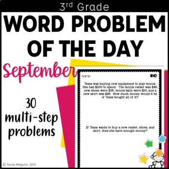 3rd Grade Problem of the Day Story Problems- September