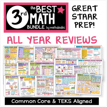3rd Grade REVIEWS STAAR Test Prep by Math Doodles TEKS and CC Aligned