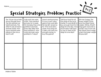 3rd Grade Word Problems Special Strategies