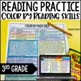 3rd Grade Reading Activities - Color by Reading with Digital Distance Learning
