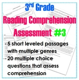 3rd Grade Leveled Reading Comprehension Assessment #3- Cold Read / Close Read