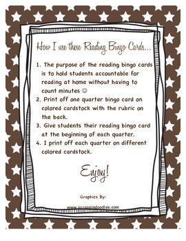 3rd Grade Reading Bingo Cards
