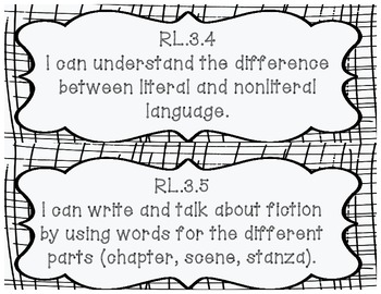 3rd Grade Reading Common Core I Can posters