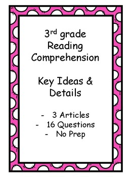 3rd Grade Reading Comprehension - Main Idea and Details