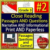 3rd Grade Reading Comprehension Passages and Questions Close Read - Self-Grading