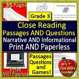3rd Grade Reading Comprehension Passages and Questions Close Reading