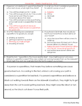 3rd Grade Reading Comprehension Quizzes & Constructed Response Practice | FREE