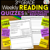 3rd Grade Reading Comprehension Quizzes & Constructed Resp