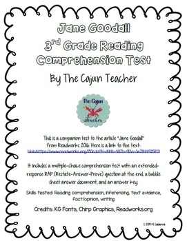 3rd Grade Reading Comprehension Test JANE GOODALL (Readworks)