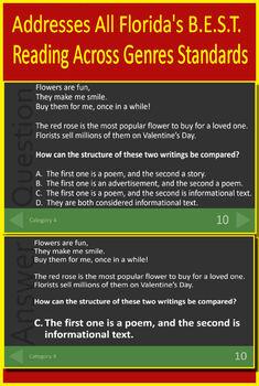 3rd Grade FSA Test Prep Reading Vocabulary Review Game LAFS.3.RL.2.4;  3.RI.2.4