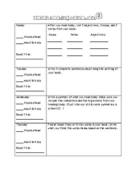 3rd Grade Reading Homework for the year!