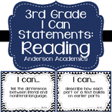 """3rd Grade """"I Can"""" Statements: Reading - Black & White"""