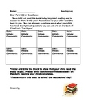 3rd Grade Reading Log with Parent Questions