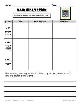 3rd Grade Reading Module 1 Printables:  Unit 1