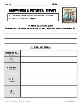 3rd Grade Reading Module 1 Printables: Unit 3