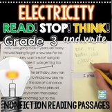 3rd Grade Reading Passages ~ Electricity ~ Built in Stop and Think
