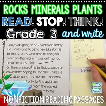 3rd Grade Reading Passages Plants, Rocks and Minerals with Built in Stop and Jot