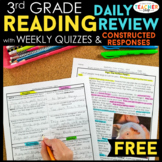 3rd Grade Reading Homework & Quizzes with Constructed Resp