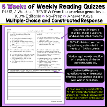 3rd Grade Reading Spiral Review   Reading Comprehension Passages   1st Quarter