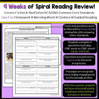 3rd Grade Reading Spiral Review | Reading Comprehension Passages | 2nd Quarter