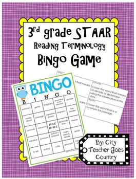 3rd Grade Reading STAAR Bingo Vocabulary Game