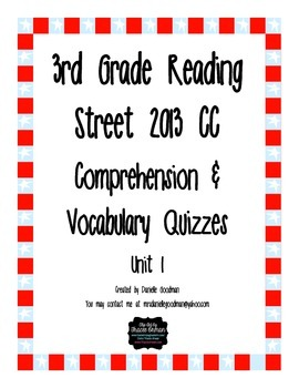 3rd Grade Reading Street 2013 CC Weekly Story Tests Unit 1