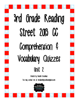 3rd Grade Reading Street 2013 CC Weekly Story Tests Unit 2