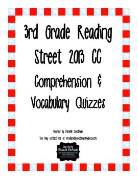 3rd Grade Reading Street 2013 CC Weekly Story Tests Unit 3