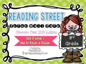 Reading Street 3rd Grade 2013 Focus Wall Posters Unit3 Wk 1