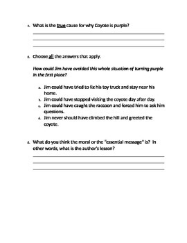 3rd Grade Reading Street - 4.5 Purple Coyote Close Read - FSA Assessment