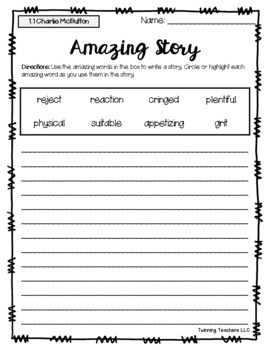 3rd Grade Reading Street Amazing Words - Writing Activity UNITS 1-6
