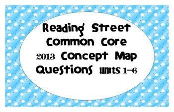 Reading Street Common Core 2013-Concept Map Questions-Gr. 3-ALL UNITS
