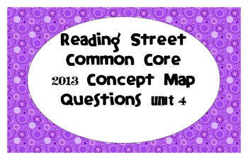 Reading Street Common Core 2013-Concept Map Questions-Grade 3-Unit 4