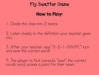 3rd Grade Reading Street Fly Swatter Vocab Game Unit 4