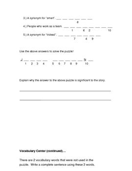 """3rd Grade Reading Street Series- """"Tops and Bottoms""""- resources"""