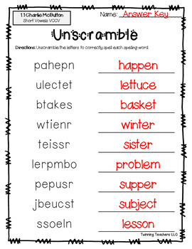 3rd Grade Reading Street Spelling - Unscramble UNITS 1-6