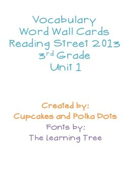 3rd Grade Reading Street Unit 1 Vocabulary Word Wall Cards