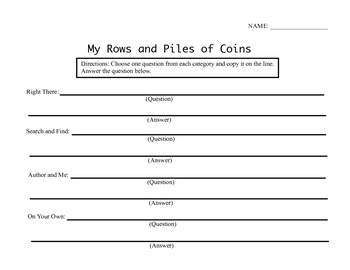 3rd Grade Reading Street Unit 1 Week 5 Questions - My Rows and Piles of Coins