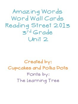 3rd Grade Reading Street Unit 2 Amazing Word Wall Cards