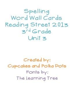3rd Grade Reading Street Unit 3 Spelling Word Wall Cards
